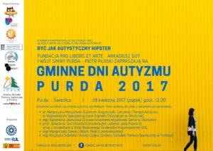 2017 plakat i zaproszenie na gminne dni autyzmu Purda